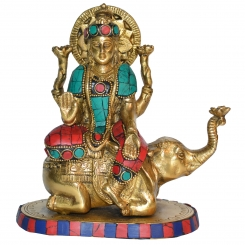 Laxmi Ji Sitting on Elephant metal Murti for worship