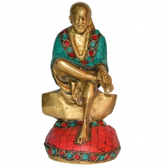 Sitting Sai Baba statue with turquoise coral stone work