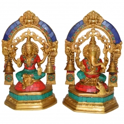 Laxmi Ganesh metal brass statue with small bells