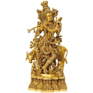 Lord Krishna with Cow decortive Brass Made statue