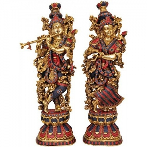 Aakrati Radha Krishna Statue Made in Brass - Hindu God Religious Figurine Idol Turquoise Handwork Big Murti 29 inch in Height | Home Decor | Showpiece | Decorat