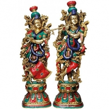 Radha Krishna Idol - Set of 2 - Brass Idols - Turquoise Coral Color - 29