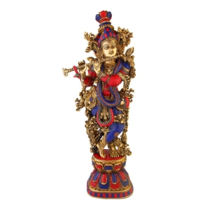 Krishna Sculpture Turquoise Coral Stone Finish 30 inch height