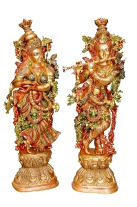 Metal Brass Handmade Handicrafts Lord Radha Krishna Statue for your home decoration By Ashopi