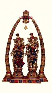 Handicraft Radha Krishna Temple With Carving of Brass