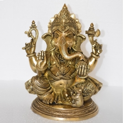 Sitting Lord Ganesha Hand Made Brass Statue