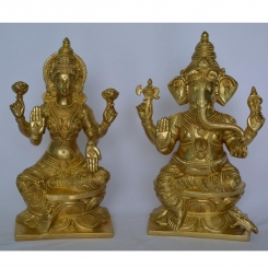 Brass Metal  Hand Carved Lakshmi and Ganesha Pair