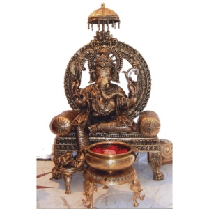 Brass Made Lord Ganesha Statue Sitting on Throne (Without Flower Pot)