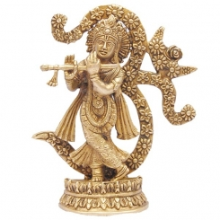 Lord Krishna Statue Playing Flute with Symbol of Om Made of Brass