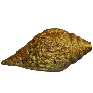 Brass Made Conch with Carving of Many God and Goddess
