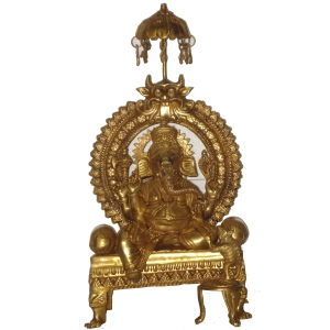 Lord Ganesha Glorious Statue Sitting On a Throne