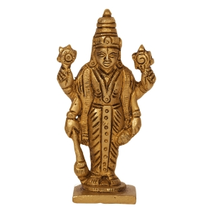 Religious Figurine of Lord Vishnu small Statue of Brass metal Narayana for Temple / Home and Office Handmade Sculpture - lucky figurine house warming