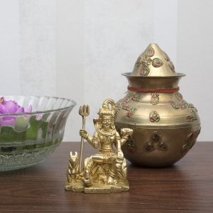 Religious Idol of Statue of Lord Shiva Mahadev Brass Murti for Home, Temple, Office, puja worship, Small Figurine Metal Sculpture for Gift on all occasions