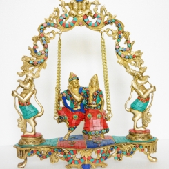 Radha Krishna Swing Statue Made of Brass