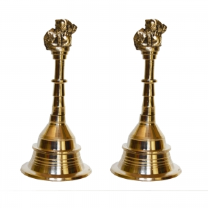 Aakrati Brass Metal Hand Bell Pair Pooja Accessory for Home Temple in Yellow Finish (Pack of Two)