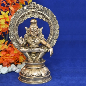 Religious Statue of Lord Ayappa with Frame in Brass Metal for Home