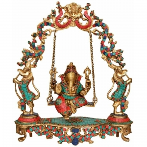 Sitting Ganesha on swing - Turquoise Work Brass Hindu Idol Pooja Ghar figure