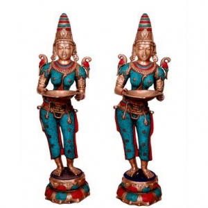 Goddess Figure Deep Laxmi Standing Pair Brass Made Statue