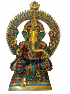 Lord Ganesha Brass made Colored Statue by Aakrati
