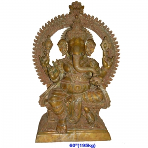 Big Size Lord Ganesha Statue made in Brass - height 6 feet