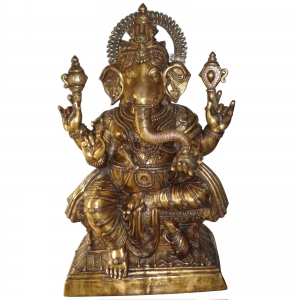 Big size Sitting Lord Ganesha Brass Made Statue by Aakrati 5 feet height