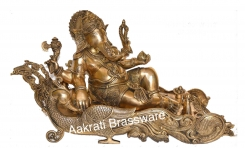 Lord Ganesha Reclining decorative brass made statue
