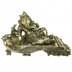 Brass metal Lord Ganesha reclining decorative hand carved statue
