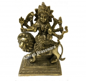 Maa Durga Brass metal hand carved statue for pooja ghar
