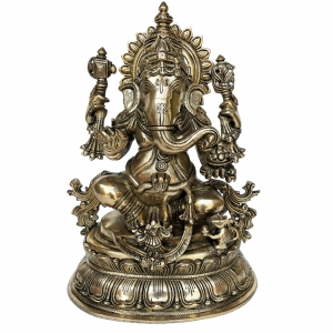 Sitting Lord Ganesha brass made hand carved statue