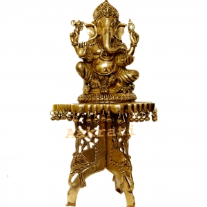 Lord Ganesha with chowki brass metal hand carved home/office/puja ghar decor