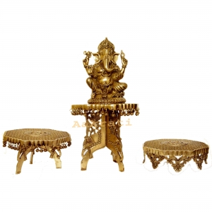Lord Ganesha with three chowki brass metal decorated combo set