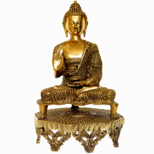 Lord Buddha Brass Made Decorative Figure with decorated chowki Super Fine Carving