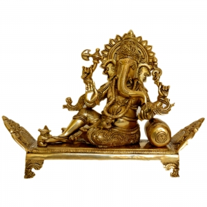 Sitting Lord Ganesha on a decorated throne brass made statue by Aakrati