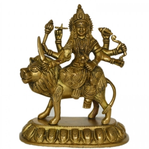 Goddess Durga Maa brass metal hand carved statue By Aakrati