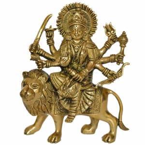 Brass made goddess Durga ji hand carved statue by Aakrati