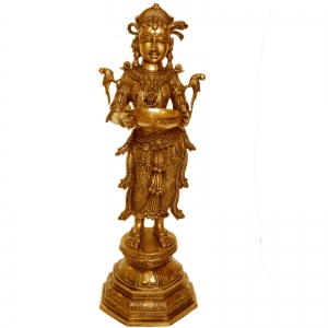 Deep laxmi - Diya Lady brass table decor figure - Decorative statue for worship or temple