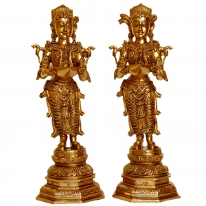 Deep laxmi pair hand carved brass metal pooja ghar event decor table showpiece