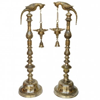 Parrot figure brass made hand carved home/pooja gahe decor oil Lamps Pair