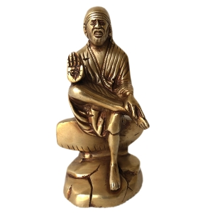 Brass made Sai Baba of Shirdi sitting statue