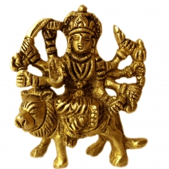 Goddess Durga Brass Metal Hand Carved Idol for Gift/Temple