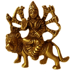 Brass Metal Hand Carved Goddess Durga Idol By Aakrati