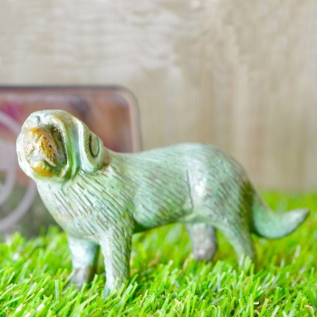 Aakrati Green Finished 4 Inch Standing Brass Dog For Table Decoration