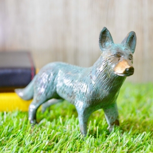Aakrati Green Coloured 5 Inch Standing Brass Fox For Table Top Home Decoration