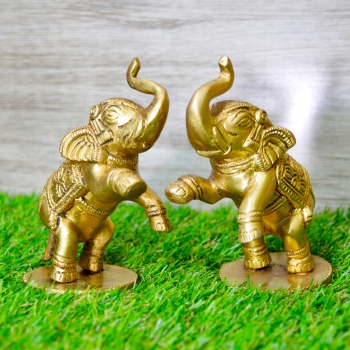 Aakrati Pair Yellow Small 4 inch Brass Cute Elephant Showpiece Multipurpose Use For Home or Office or Paper Weight