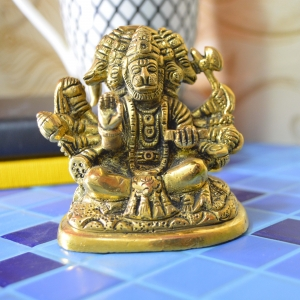 Aakrati Gloss Antqiue Small Sitting five face Hanuman Figurine For Office or Home and worship