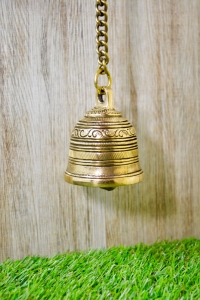 Aakrati Vintage Matte Wall Hanging Bell With Brass Chain and Hook For Gates , Home, office and temple
