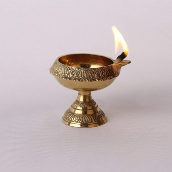 Brass Diwali Gift Kuber Deepak On Stand Diya Oil Lamp for Puja Home Decor 100% Pure Brass