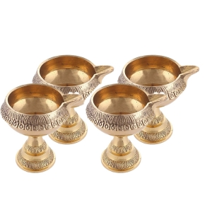 Pure Brass Handcrafted Diwali Kuber Deepak On Stand Diya Oil Lamp For Puja Home Decor Pack of 4