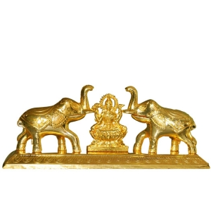 Gold Metal Haldi KumKum Holder with Elephant Figurine With Laxmi Yantra by Aakrati