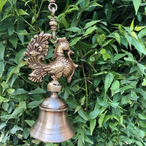Aakrati Hanging Brass Metal Made Designer Bell with Bird and Chain - Unique Design Metal Craft